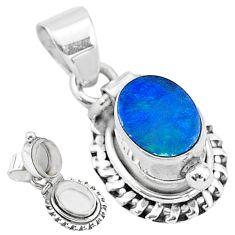 2.01cts natural blue doublet opal australian 925 silver poison box pendant t3732