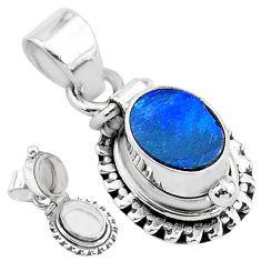 2.12cts natural blue doublet opal australian 925 silver poison box pendant t3738