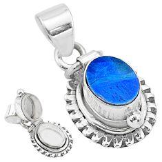 2.13cts natural blue doublet opal australian 925 silver poison box pendant t3745