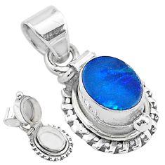 1.94cts natural blue doublet opal australian 925 silver poison box pendant t3750