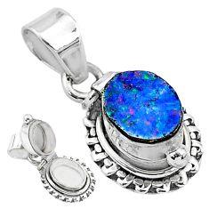 2.01cts natural blue doublet opal australian 925 silver poison box pendant t3751