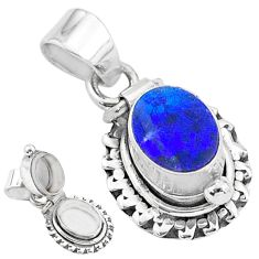 2.01cts natural blue doublet opal australian 925 silver poison box pendant t3752