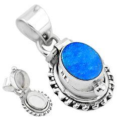 2.01cts natural blue doublet opal australian 925 silver poison box pendant t3759