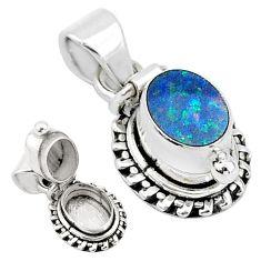 2.01cts natural blue doublet opal australian 925 silver poison box pendant t4020