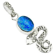 2.22cts natural blue doublet opal australian 925 silver snake pendant r78430