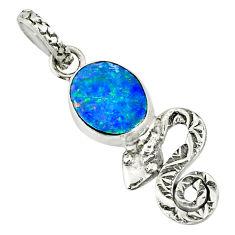 2.66cts natural blue doublet opal australian 925 silver snake pendant r78450