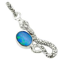 2.56cts natural blue doublet opal australian 925 silver snake pendant r78475
