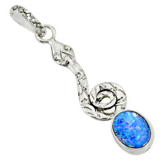 2.56cts natural blue doublet opal australian 925 silver snake pendant r78514