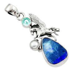 Clearance Sale- 11.89cts natural blue doublet opal australian 925 silver unicorn pendant d45834