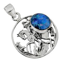 4.61cts natural blue doublet opal australian 925 silver unicorn pendant r52755