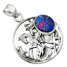 4.18cts natural blue doublet opal australian 925 silver unicorn pendant r52774