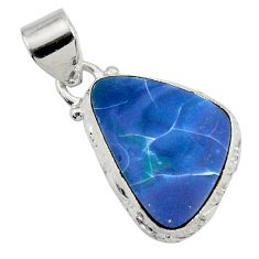 4.69cts natural blue doublet opal australian 925 sterling silver pendant d45837