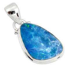 7.93cts natural blue doublet opal australian 925 sterling silver pendant r19583