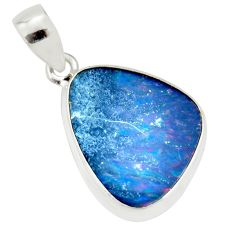 9.80cts natural blue doublet opal australian 925 sterling silver pendant r36113
