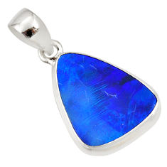 8.49cts natural blue doublet opal australian 925 sterling silver pendant r36114