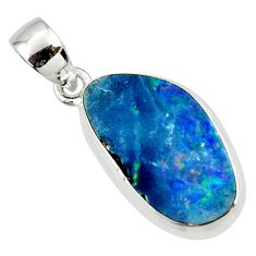 8.49cts natural blue doublet opal australian 925 sterling silver pendant r36123