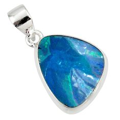 8.46cts natural blue doublet opal australian 925 sterling silver pendant r36126