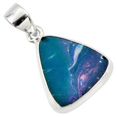8.49cts natural blue doublet opal australian 925 sterling silver pendant r36130