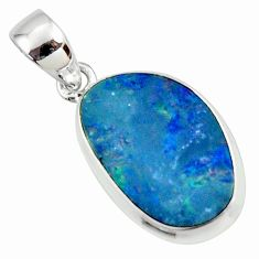 8.49cts natural blue doublet opal australian 925 sterling silver pendant r36134