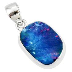 8.49cts natural blue doublet opal australian 925 sterling silver pendant r36136