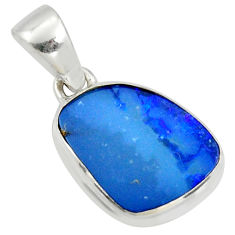 6.15cts natural blue doublet opal australian 925 sterling silver pendant r40035