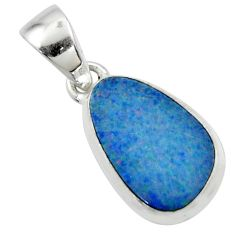 6.97cts natural blue doublet opal australian 925 sterling silver pendant r44609