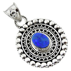 2.63cts natural blue doublet opal australian 925 sterling silver pendant r44617