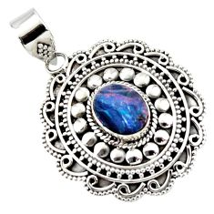 3.54cts natural blue doublet opal australian 925 sterling silver pendant r47021