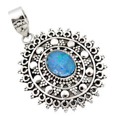3.52cts natural blue doublet opal australian 925 sterling silver pendant r47023