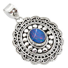3.23cts natural blue doublet opal australian 925 sterling silver pendant r47031