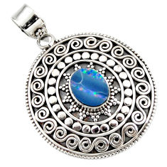 3.37cts natural blue doublet opal australian 925 sterling silver pendant r47033