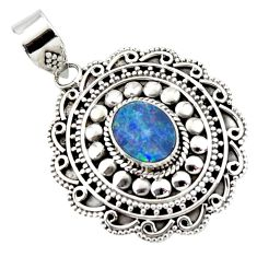 3.25cts natural blue doublet opal australian 925 sterling silver pendant r47034