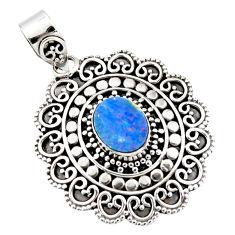 3.54cts natural blue doublet opal australian 925 sterling silver pendant r47036