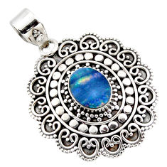 3.52cts natural blue doublet opal australian 925 sterling silver pendant r47039