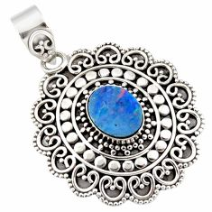 3.46cts natural blue doublet opal australian 925 sterling silver pendant r47043