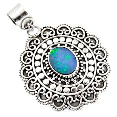 3.27cts natural blue doublet opal australian 925 sterling silver pendant r47045