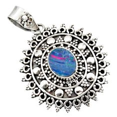 3.17cts natural blue doublet opal australian 925 sterling silver pendant r47048