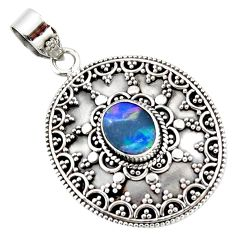 3.30cts natural blue doublet opal australian 925 sterling silver pendant r47054