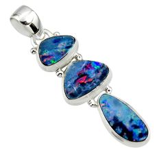 12.17cts natural blue doublet opal australian 925 sterling silver pendant r47145