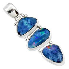 12.12cts natural blue doublet opal australian 925 sterling silver pendant r47152