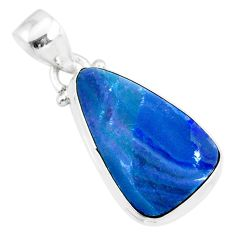 9.34cts natural blue doublet opal australian 925 sterling silver pendant r86161