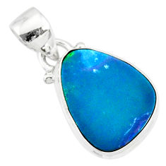 7.50cts natural blue doublet opal australian 925 sterling silver pendant r86175
