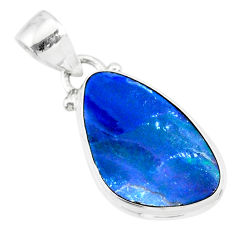 8.60cts natural blue doublet opal australian 925 sterling silver pendant r86176