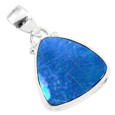 8.49cts natural blue doublet opal australian 925 sterling silver pendant r86181
