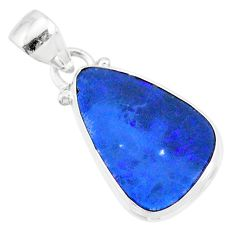 7.96cts natural blue doublet opal australian 925 sterling silver pendant r86187