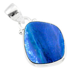 8.60cts natural blue doublet opal australian 925 sterling silver pendant r86220