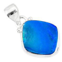 7.29cts natural blue doublet opal australian 925 sterling silver pendant r86228
