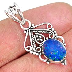 2.39cts natural blue doublet opal australian 925 sterling silver pendant r90135