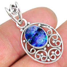 2.59cts natural blue doublet opal australian 925 sterling silver pendant r90141