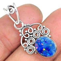 2.41cts natural blue doublet opal australian 925 sterling silver pendant r90143